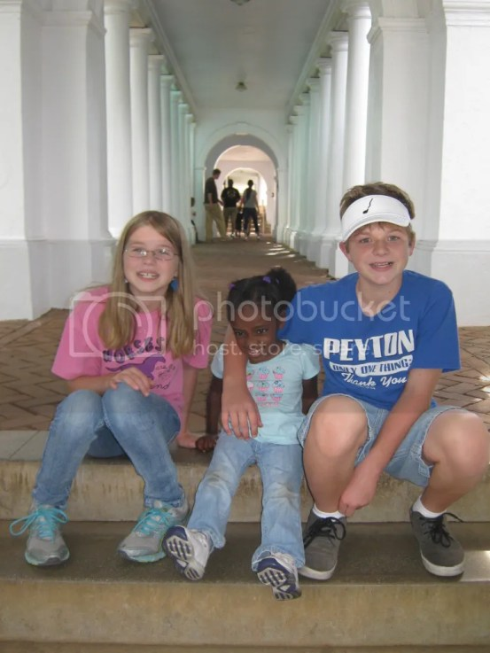 Aiden, Alyson, Mihret at the Rotunda at University of Virginia