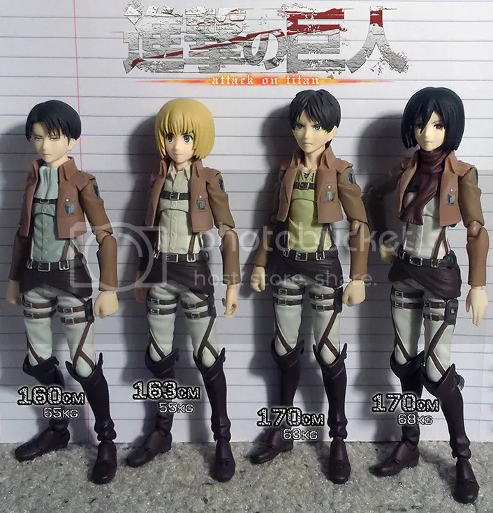 attack on titan shingeki no kyogin figma armin mikasa eren levi height chart