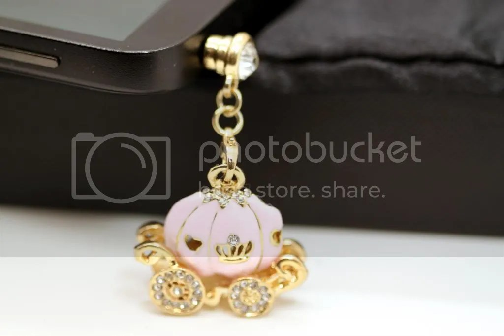 Cinderella's Magical Rhinestone Studded Pink Pumpkin Carriage Cell Phone Charm Dust Plug