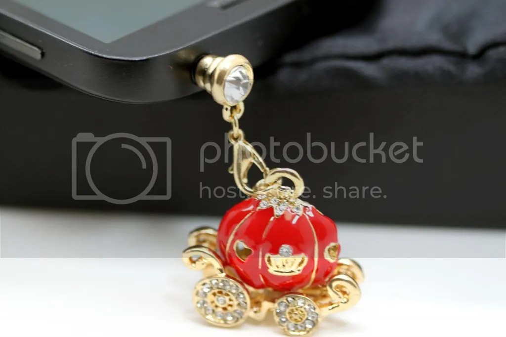 Cinderella's Magical Rhinestone Studded Red Pumpkin Carriage Cell Phone Charm Dust Plug