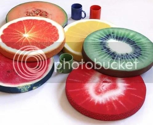 Sitzkissen für Küchenstühle Küchenstuhl aus Holz witzig lustig ausgefallen farbenfroh bunt Orange Melone Zitrone Kiwi Erdbeere Kürbis