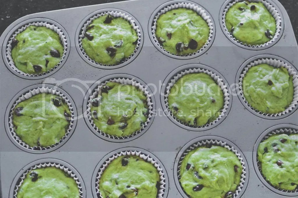 Green Tea Chocolate Chip Muffin Batter