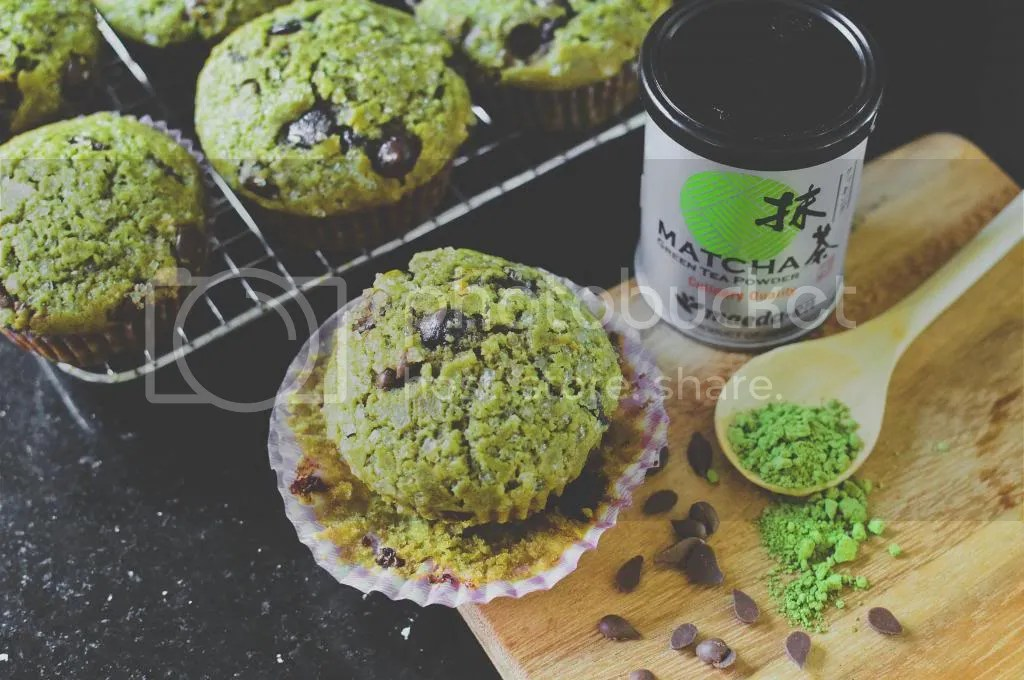 Sugar-Dusted Green Tea Chocolate Chip Muffins {with coconut oil}