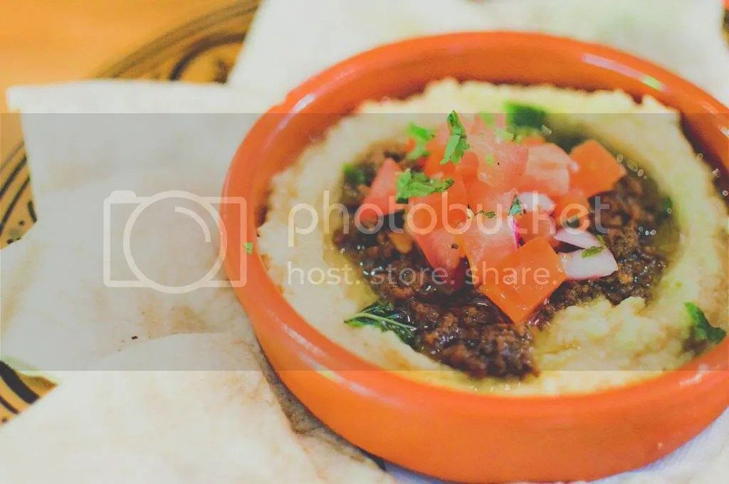 Hummus Topped With Spiced Lamb, Pinenuts And Herbs, Lebanese Za'atar Bread