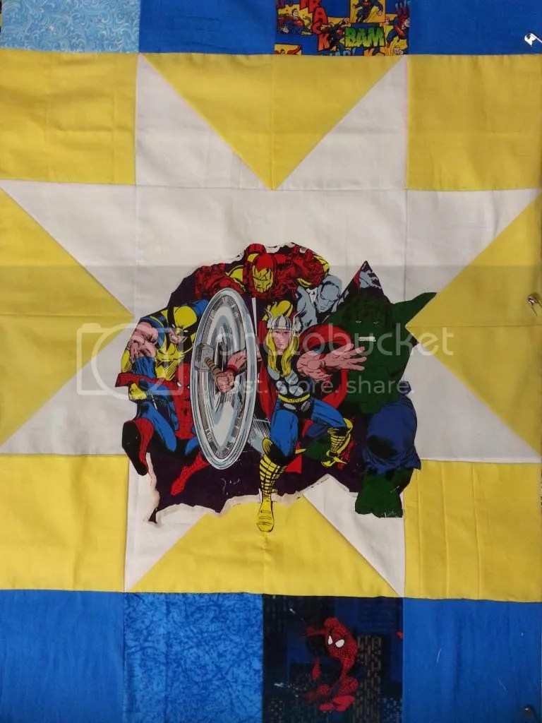 Star Applique on superhero quilt