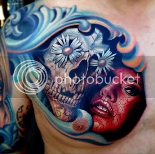 Skull and Face Tattoo