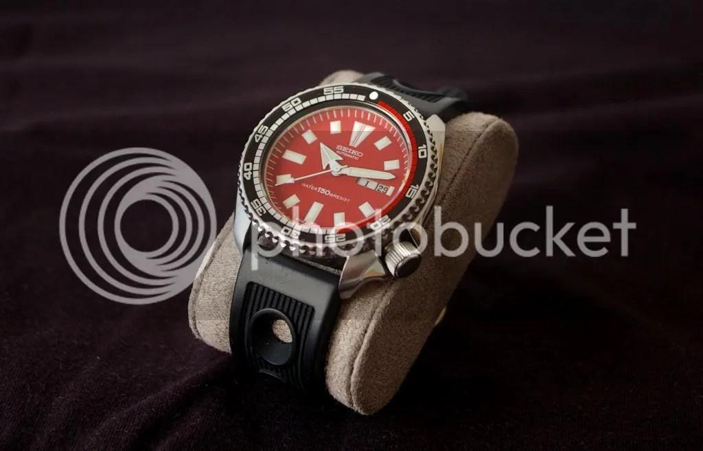 Seiko diver vintage 6309 red monster mod