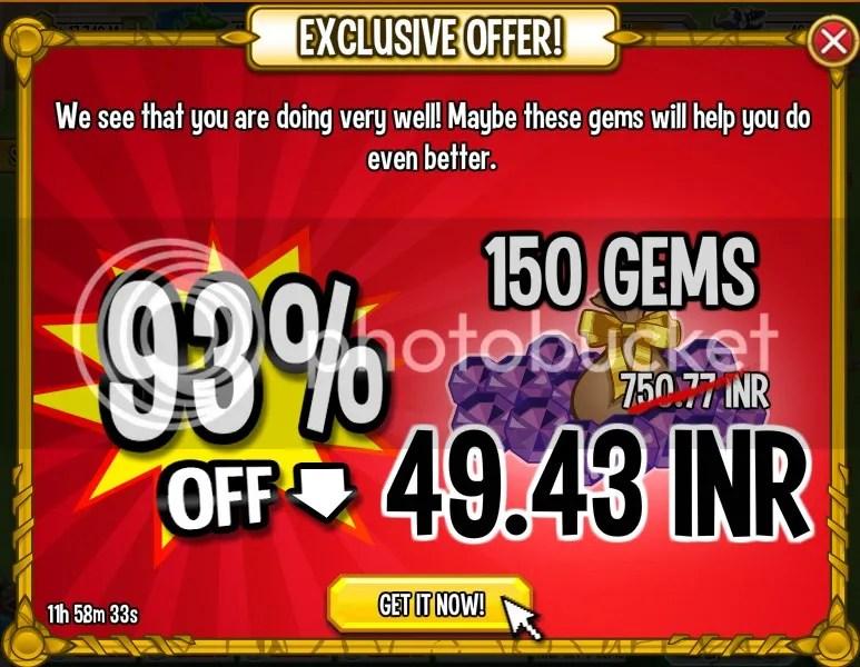 93 % Off on Gems   150 Gems for $0.8
