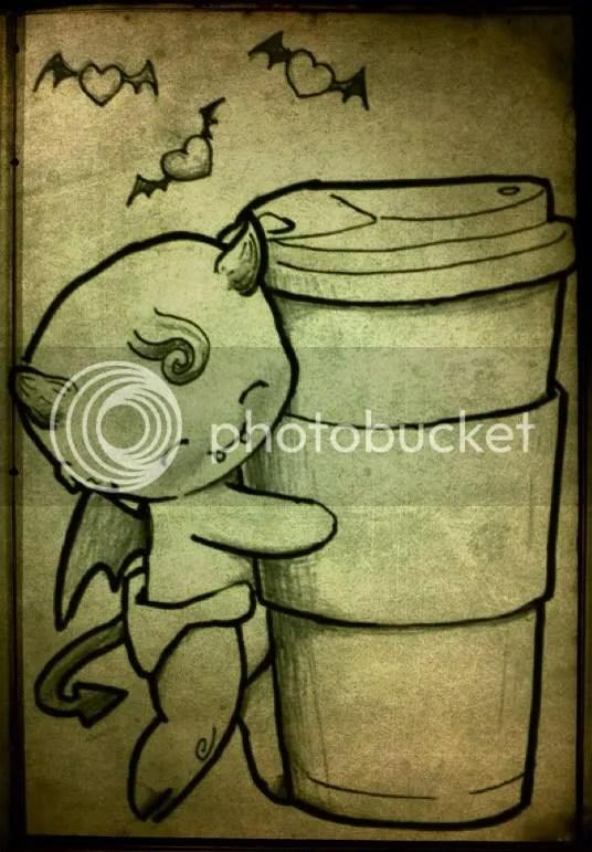 Cartoon Demon Baby hugging giant coffee cup