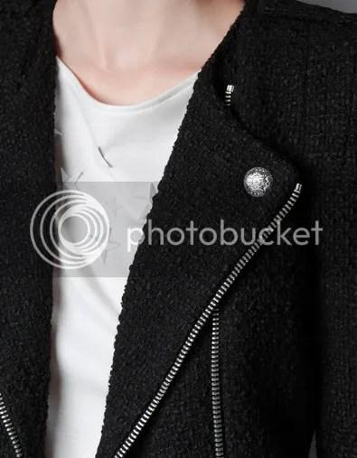 ZARA F/W 2012 Fantasy Fabric Jacket Zips Tweed Black Details close up