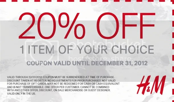 H&M Coupon Expires December 31 2012
