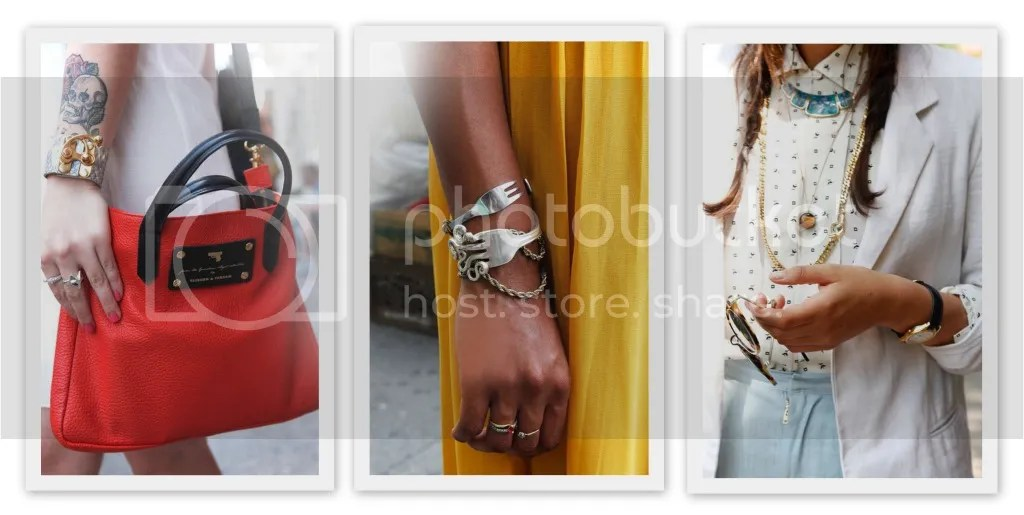 ELLE Street Style Accessories - Bright Bag, Fork Bracelet, Layering Necklace