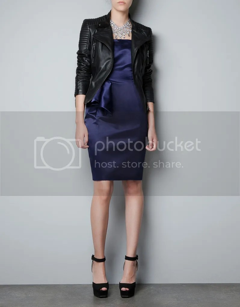 ZARA Padded Shoulder Leather Biker Jacket F/W 2012