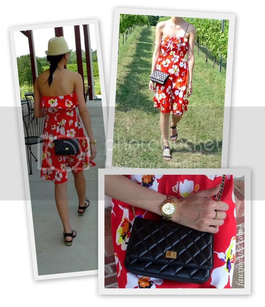 Fauxionable Outfit - Old Navy Red Print Flower Dress, Chanel Reissue Wallet on Chain WOC, Sam Edelman Trina, H&M Hat