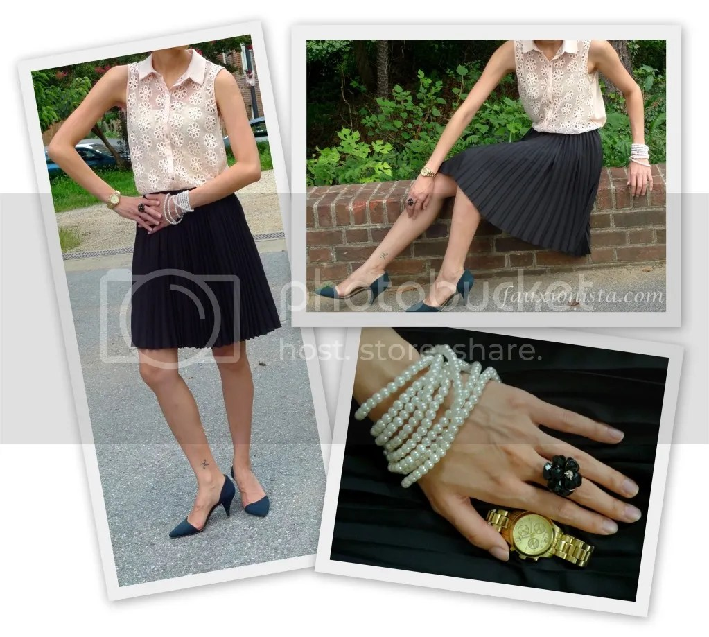 Fauxionable Outfit - ZARA Embroidered Top Formal, Jason Wu Target Black Pleated Skirt