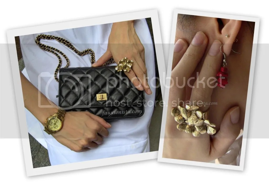 Fauxionable Outfit - YSL Gold Cluster Clover ring, Chanel Reissue Wallet on Chain WOC, Michael Kors MK5384