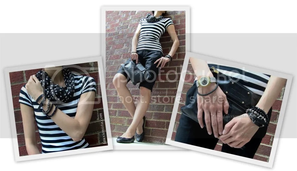 Fauxionable Outfit - Stripes Polka Dots Old Navy scarf, Marc Jacobs Palais Royal