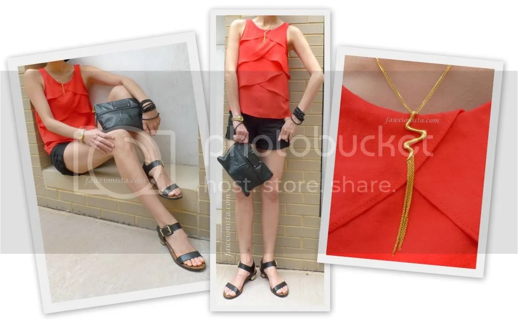 Fauxionable Outfit - Red Ruffles ZARA, H&M black shorts, Sam Edelman Trina, red, black, gold