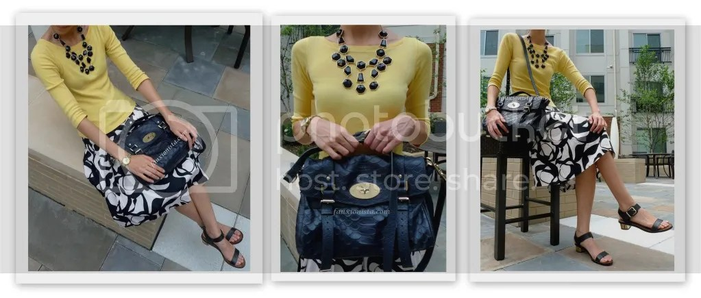 Fauxionable Outfit - Black & Yellow H&M black statement necklace, Mulberry Alexa Silky Snake Nightshade
