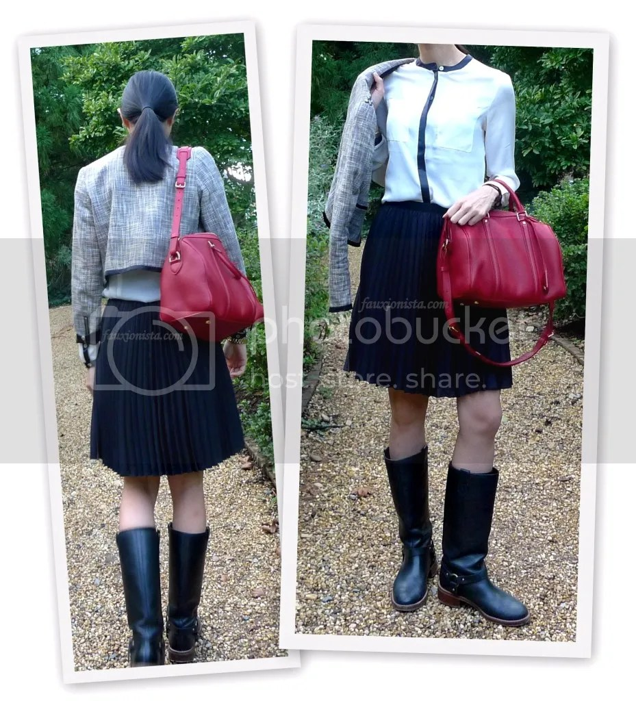Fauxionable Outfit - Tweed & Pleats, classic, Coco Chanel, equesterian, black and white, Louis Vuitton Sofia Coppola cherry