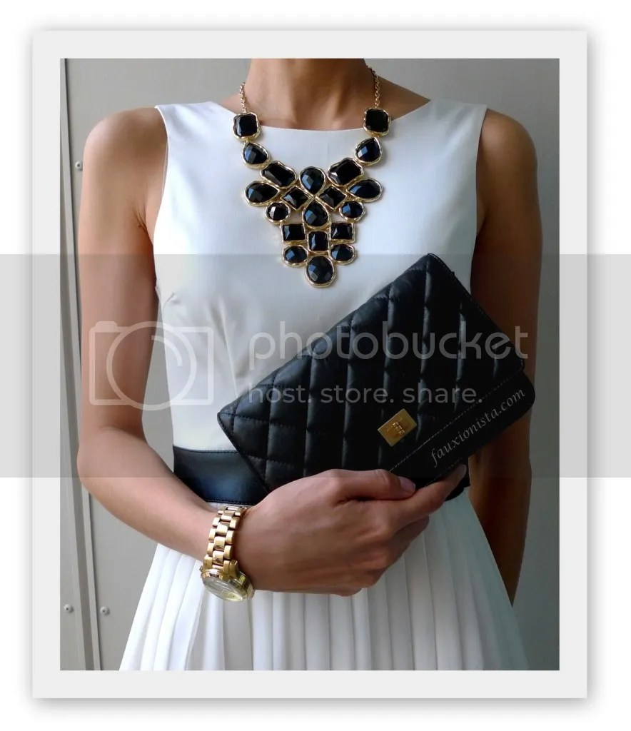 Adia Kibur Black Stone Bib Statement Necklace, Michael Kors MK5384, Chanel Reissue Wallet on Chain WOC, black, gold, accessories
