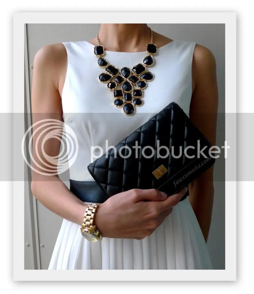 Adia Kibur Black Stone Bib Statement Necklace, Michael Kors MK5384, Chanel Reissue Wallet on Chain WOC, black, gold, accessories