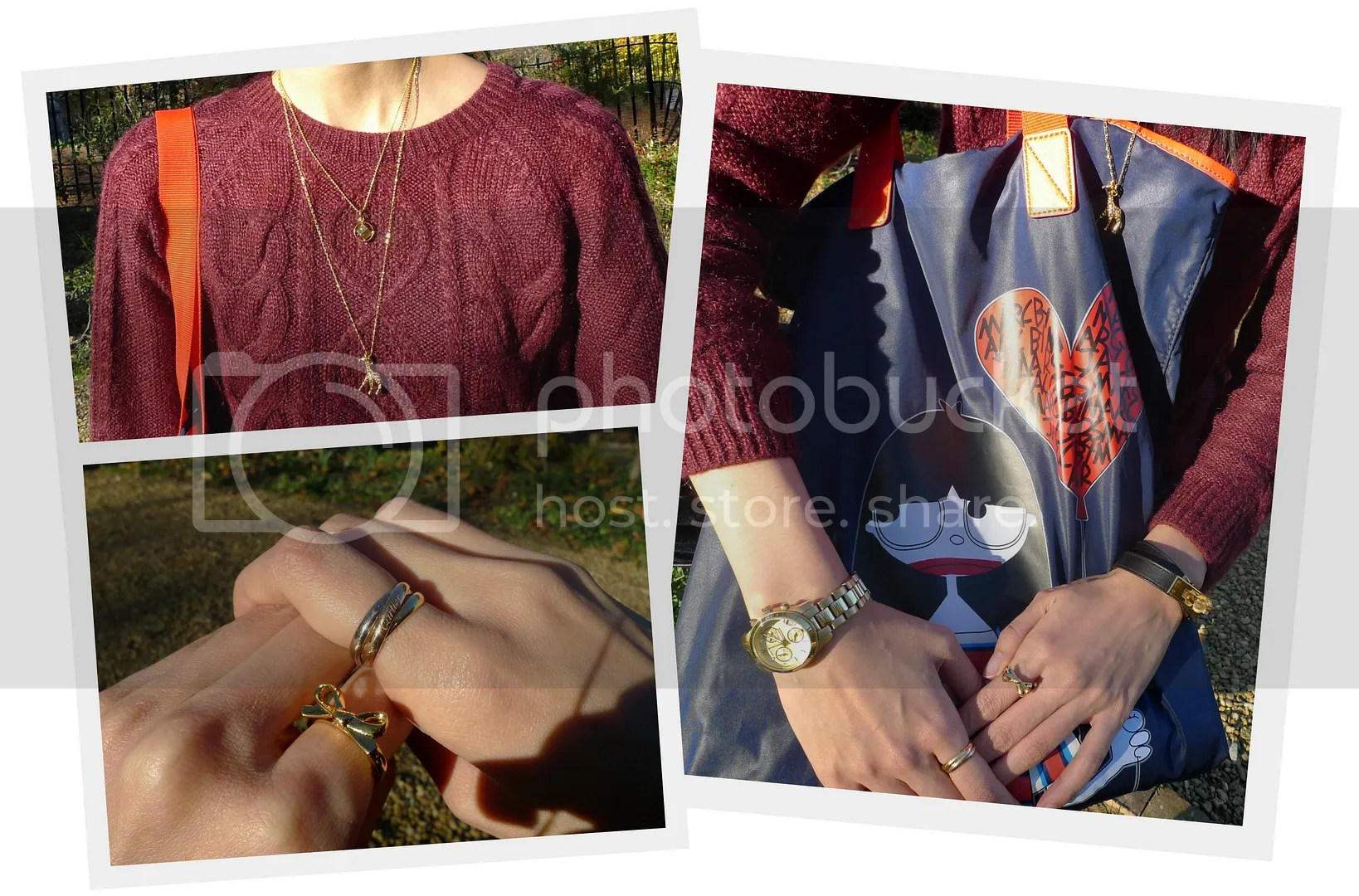 Fauxionable Outfit - Burgundy Oxblood H&M Sweater Kate Spade Skinny Mini Bow Ring Cartier Trinity Ring Michael Kors MK5384 Mini Runway Hermes Kelly Double Tour Marc by Marc Jacobs Miss Marc Tote J Crew Giraffe Charm Necklace