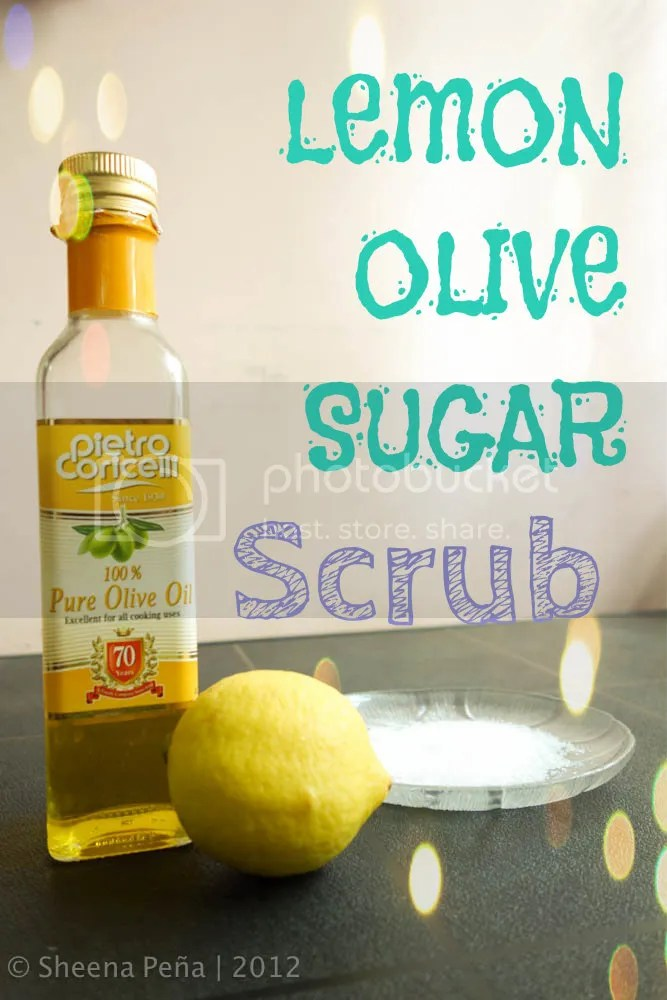 sugar scrub, olive oil, lemon