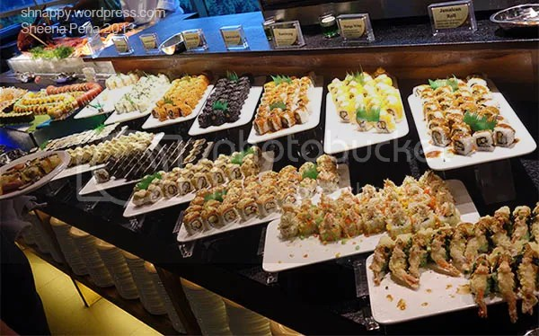 variety of delicious sushi and other seafood displayed in SM Marikina Vikings