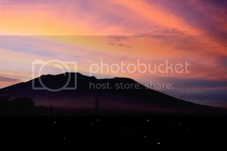 Sunrise behind Mount Merapi, West Sumatra