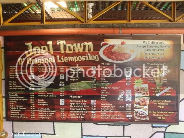 Joels Town Menu Food Choices