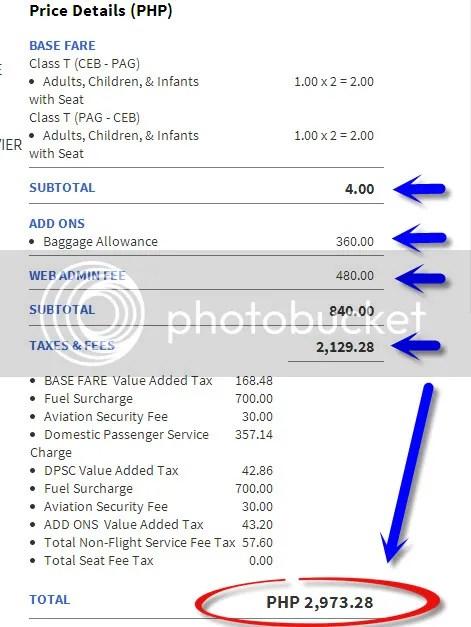 total piso fare cost fee breakdown