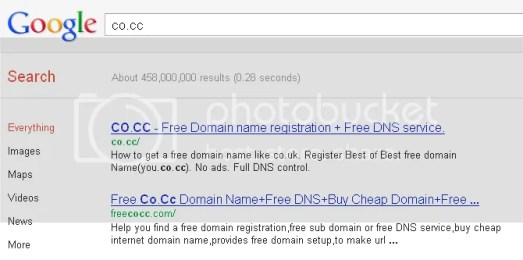 co.cc is indexed , domain co.cc is indexed by google again at 2012,