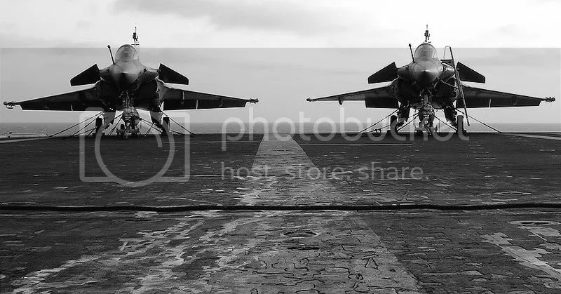 French Dassault Rafale aircraft on the French carrier Charles de Gaulle. Photo by Pascal Subtil.