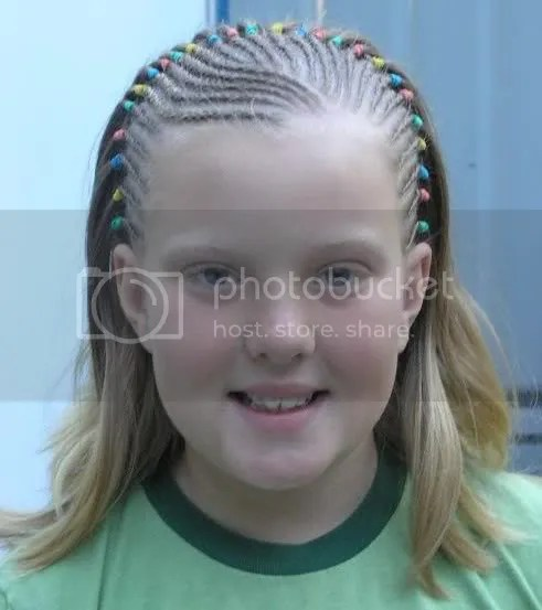Picture of blonde cornrow hair.