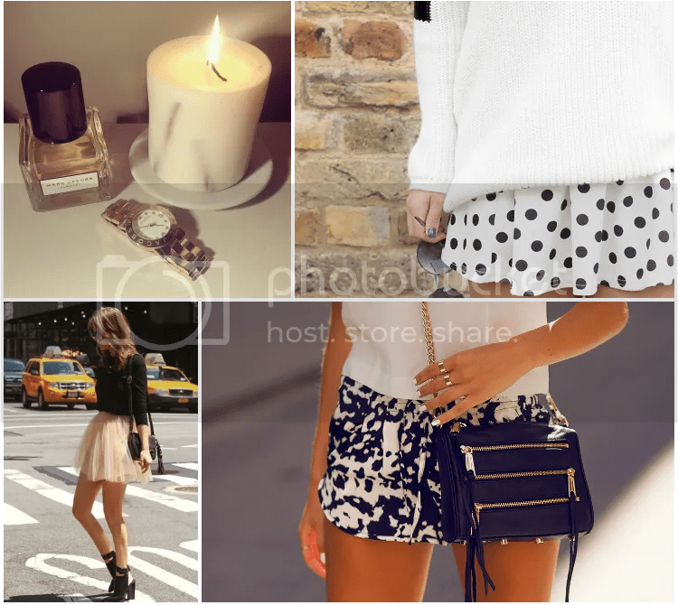 fashion junkie, inspiration, outfit, quote, blog, ambient, candle, dots, tutu skirt, perfume, bag, shorts