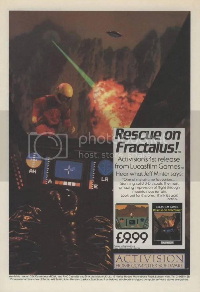 Rescue on Fractalus ad 1985