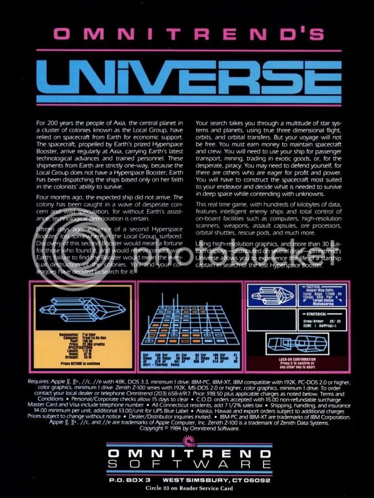 Universe ad 1985