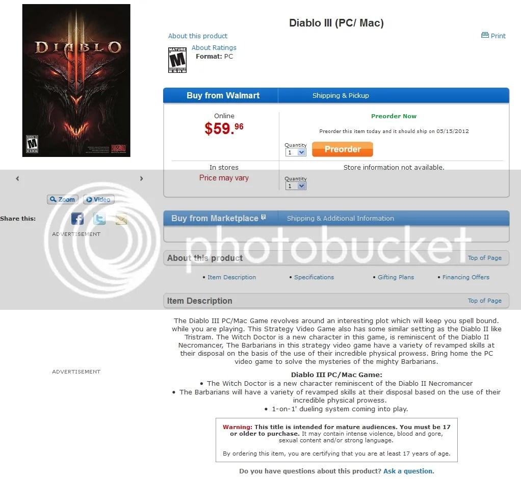 Walmart - Diablo 3 snapshot