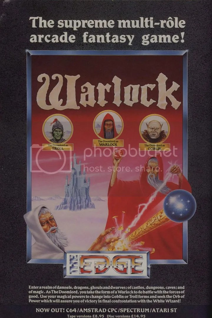 Warlock's ad was simple and to the point, showing our wicked protagonist in red and in his three starring roles.