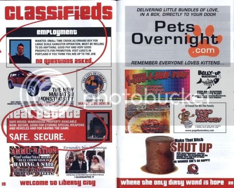 Grand Theft Auto III manual excerpt