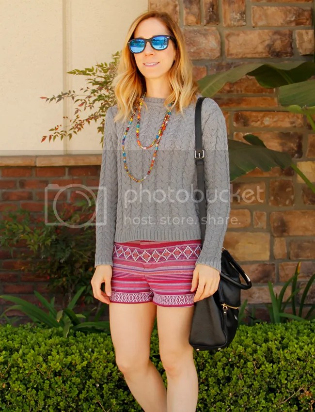 Fashion blogger The Key To Chic wears a Cotton On cable knit sweater with Merona jacquard shorts, and a Kate Spade Cobble Hill Little Minka bag