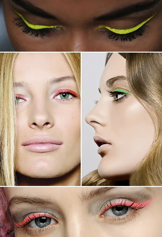 NEON EYELINER BEAUTY BRIGHT PINK ORANGE YELLOW GREEN LIME BACKSTAGE FASHION BEAUTY BLONDE NUDE LIPS INSPIRATION FASHION BLOG CHARLOTTE FREE PINK HAIR 3