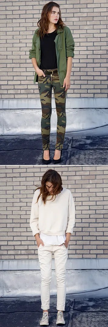 TEXTILE ELIZABETH AND JAMES FALL 2012 GREEN OLIVE JACKET CAMO GOLD ZIPPER PANTS SKINNY OFF WHITE CREAM LOOK SWEATER LAYERED SKINNY ROLLED UP JEANS BEAT UP CONVER ALL STAR SNEAKERS MODEL BAMBI BLYTH NORTHWOOD