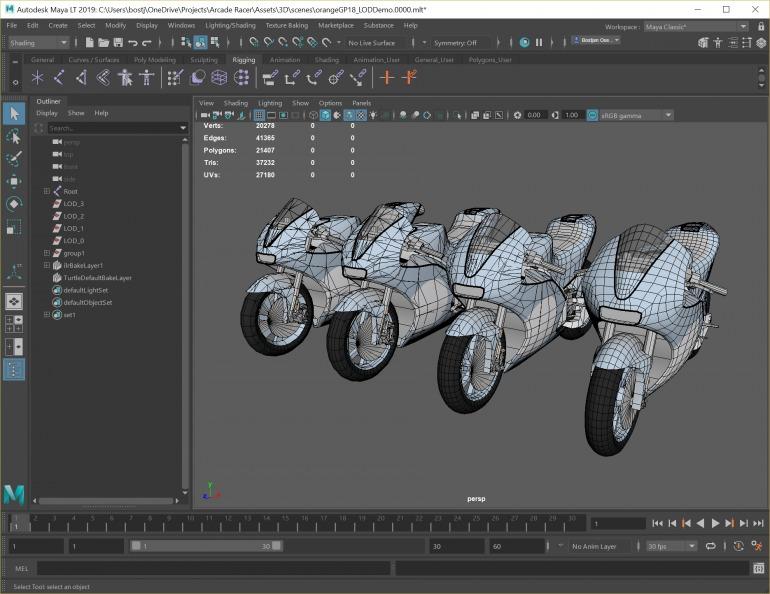 Grupo jerárquico en varios niveles de detalle de una moto. El LOD 0 contiene el mayor detalle.  Imagen: Cosmic Works