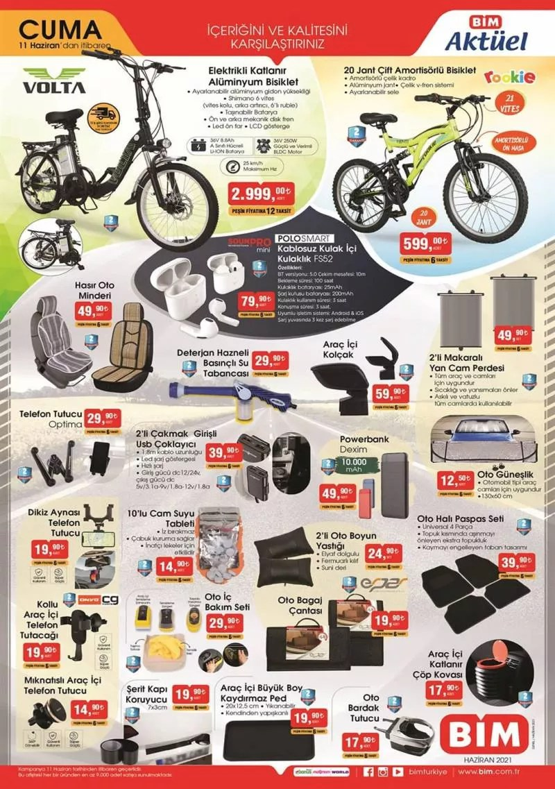 BİM 11 Haziran aktüel kataloğu! Elektrikli bisiklet, bavul, mobilya, bahçe ve tekstil ürünlerinde...
