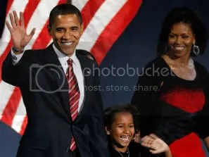 President-elect Barack Obama and his family on election night