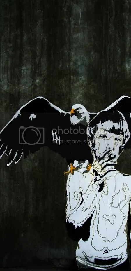 Poster smoking boy with eagle