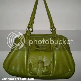 Secosana  Leather HandBag In Apple Green