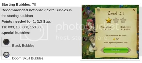 Lvl 41, Statistics and one star achieved pr0n for bubble-witch-saga.se